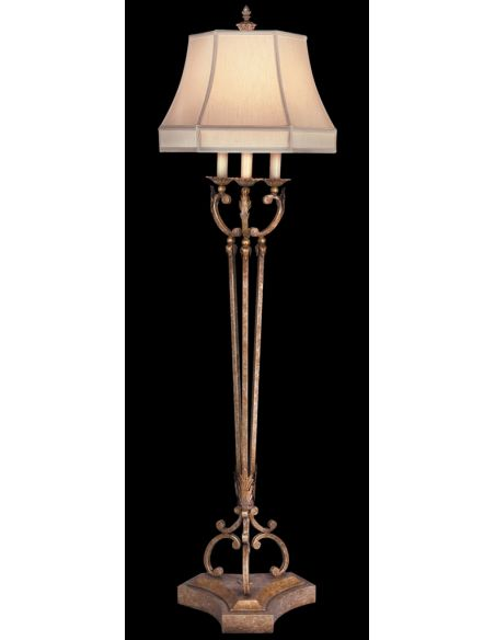 Lighting Floor lamp in cool moonlit patina. Hand-sewn, silk shantung shade