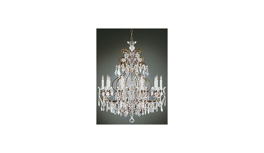 Lighting Crystal Clear Brass Chandelier