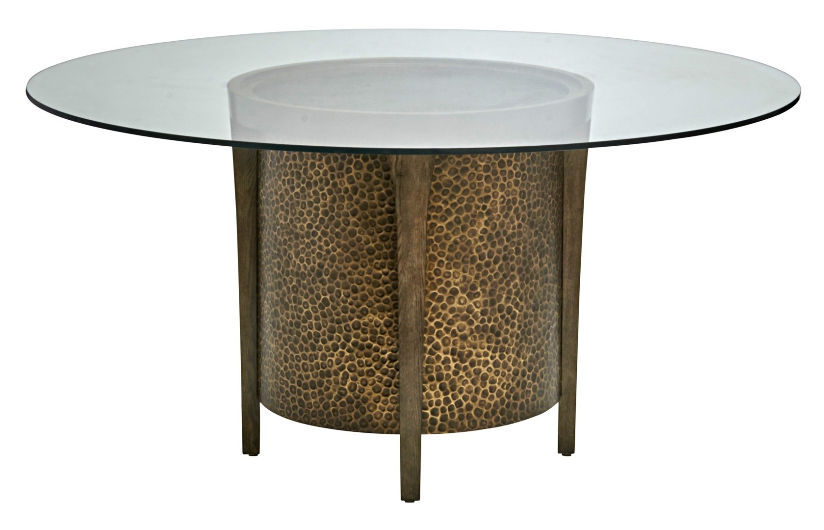 Glass Top Round Dining Table In Quarter Sawn Oak And Metallic Accents