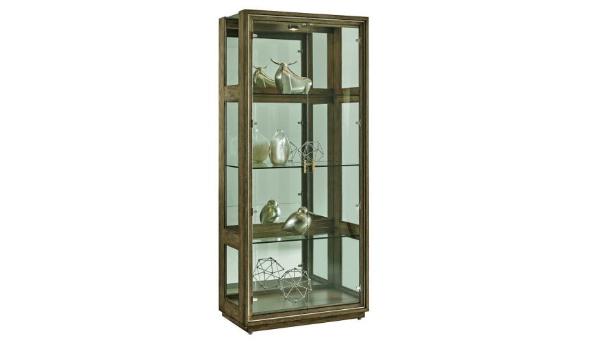 Display Cabinets and Armories Pleasing neutral finish on ash burl display cabinet