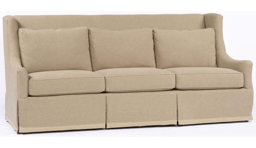 Luxury Leather & Upholstered Furniture Beige Straight Back Sofa