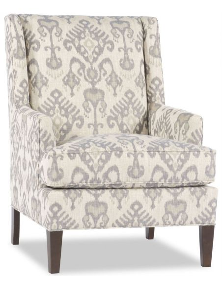 Luxury Leather & Upholstered Furniture White Patterned Accent Chair