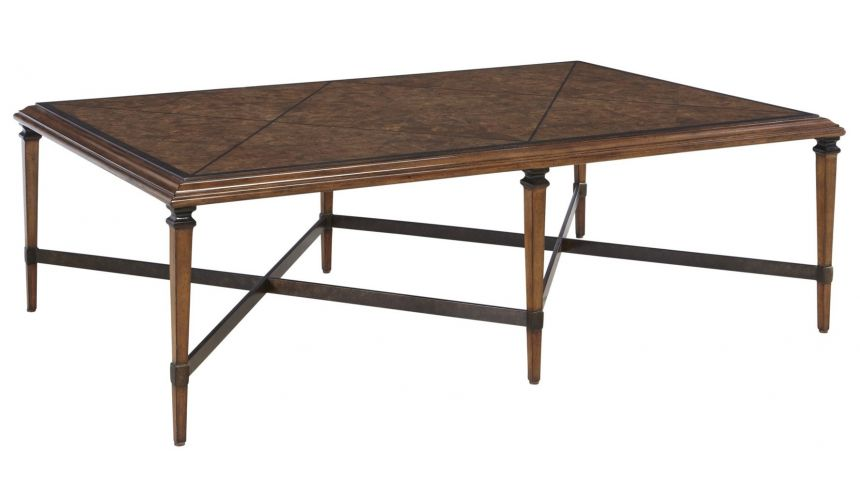 Coffee Tables Burl wood veneer contemporary style coffee table