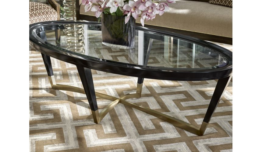 Round and Oval Coffee tables Oval coffee table with a glass insert top