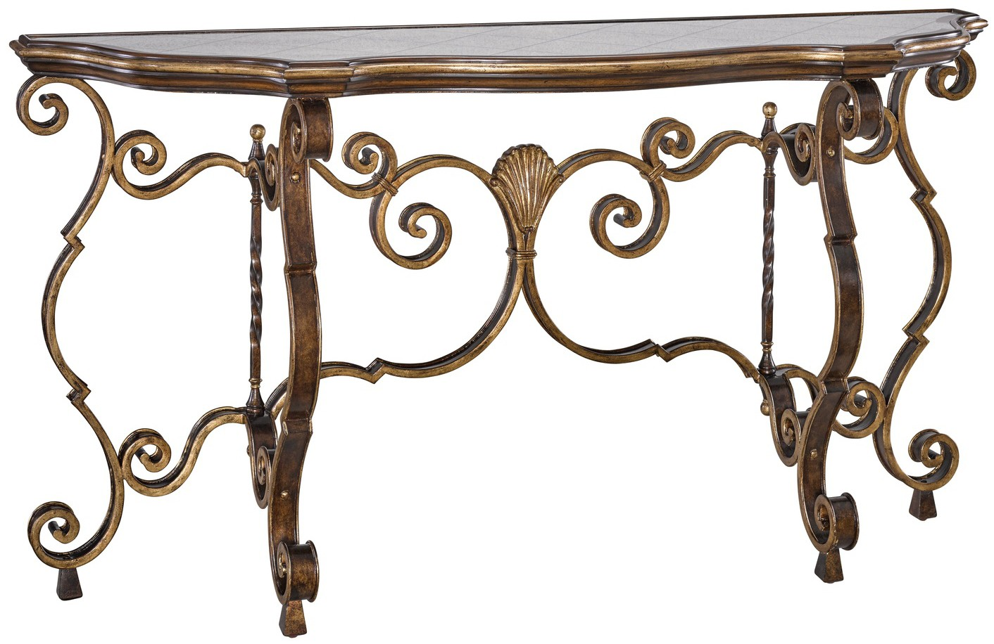 Traditional console table antiqued gold leaf trim and detailed me console sofa tables traditional console table antiqued gold leaf trim and detailed metalwork geotapseo Image collections