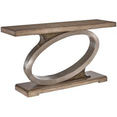 Console table on ash burl in sleek contemporary styling