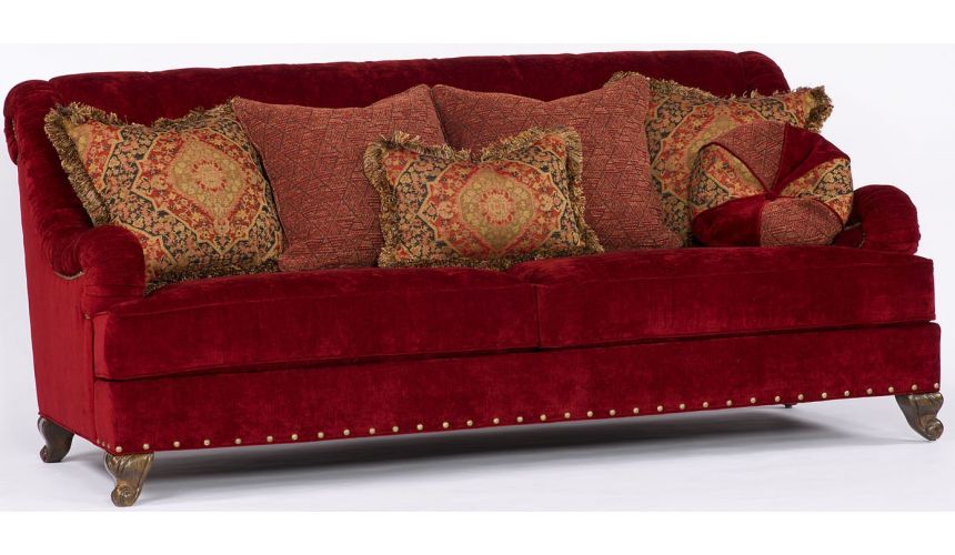 Luxury Leather & Upholstered Furniture Red Velvet Sofa