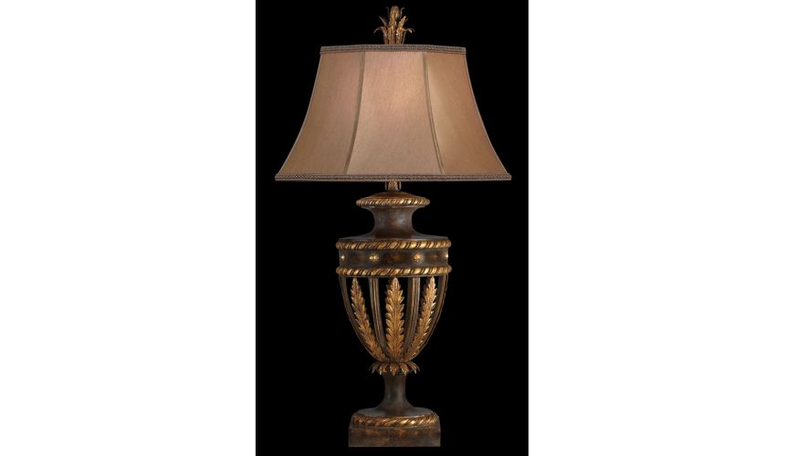 Lighting Table lamp in antiqued iron and gold leaf finish
