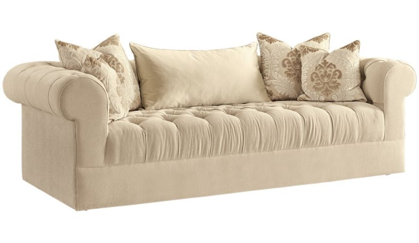 SOFA, COUCH & LOVESEAT Round and simple shapes make this a comfortable luxury sofa.