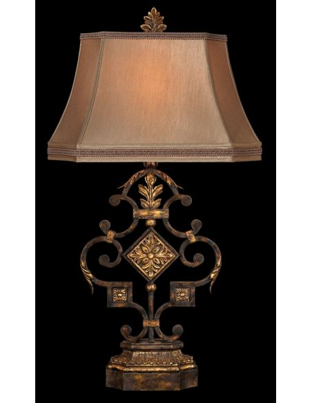 Lighting Elegant iron table lamp in antiqued iron and warm gold leaf finish