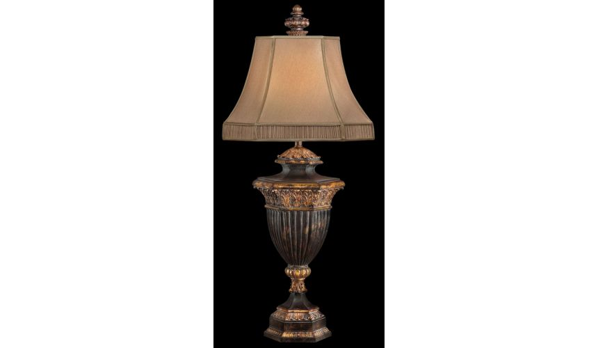 Lighting Table lamp in warm finish with gold leaf accents