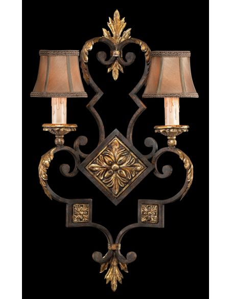 Lighting Wall sconce in antiqued finish with gold leaf accents