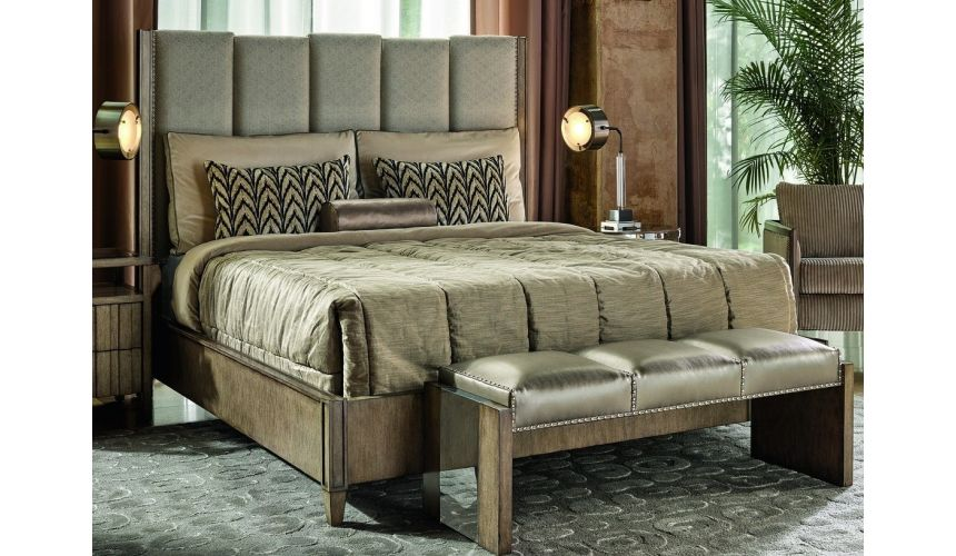 Queen and King Sized Beds Master bed on ash burl in sleek contemporary styling