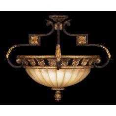 Semi-flush mount in antiqued gold leafed finish