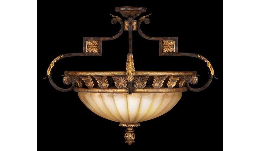 Lighting Semi-flush mount in antiqued gold leafed finish