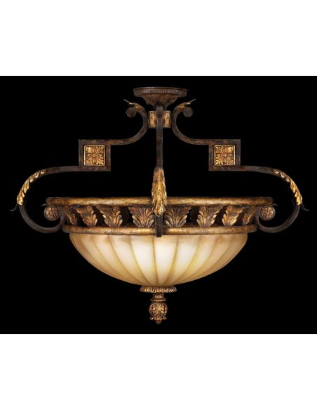 Lighting Semi-flush mount in antiqued gold leafed finish