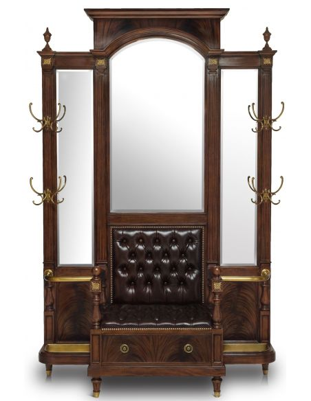 Display Cabinets and Armories Hall Tree Leather upholstered bench seat