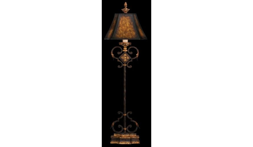 Lighting Console lamp of antiqued iron with gold leaf