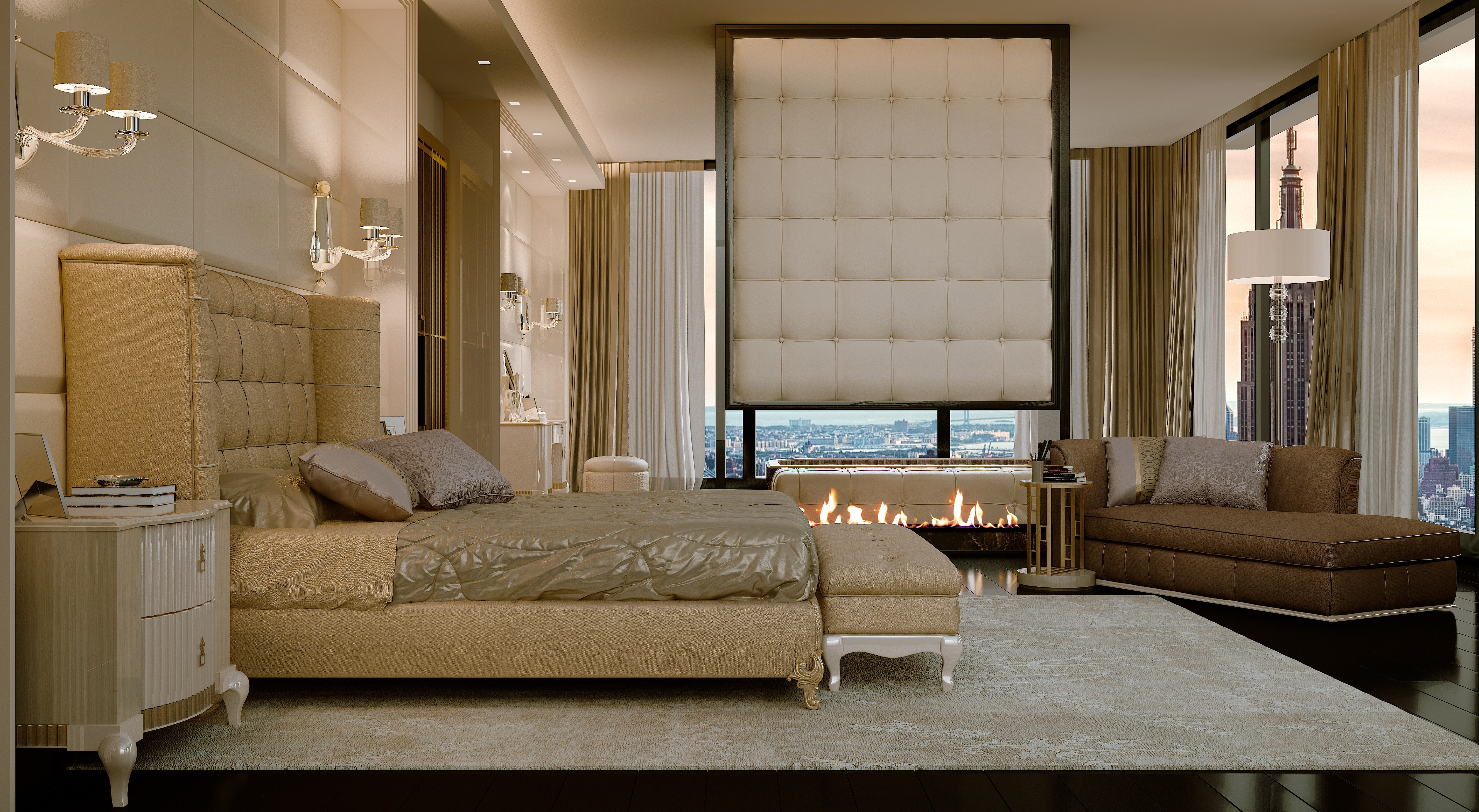 Luxurious bed with Tall and tufted headboard