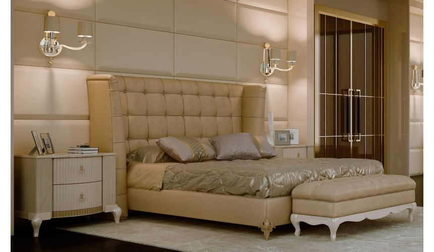 Queen and King Sized Beds Luxurious bed with Tall and tufted headboard