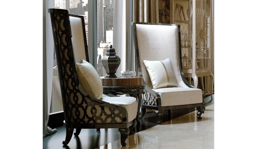 Luxury Leather & Upholstered Furniture Sleek modern and beautiful tall back chairs
