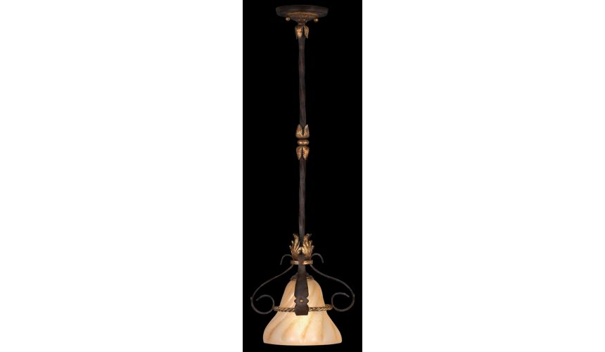 Lighting Drop light in antiqued iron and warm gold leaf finish