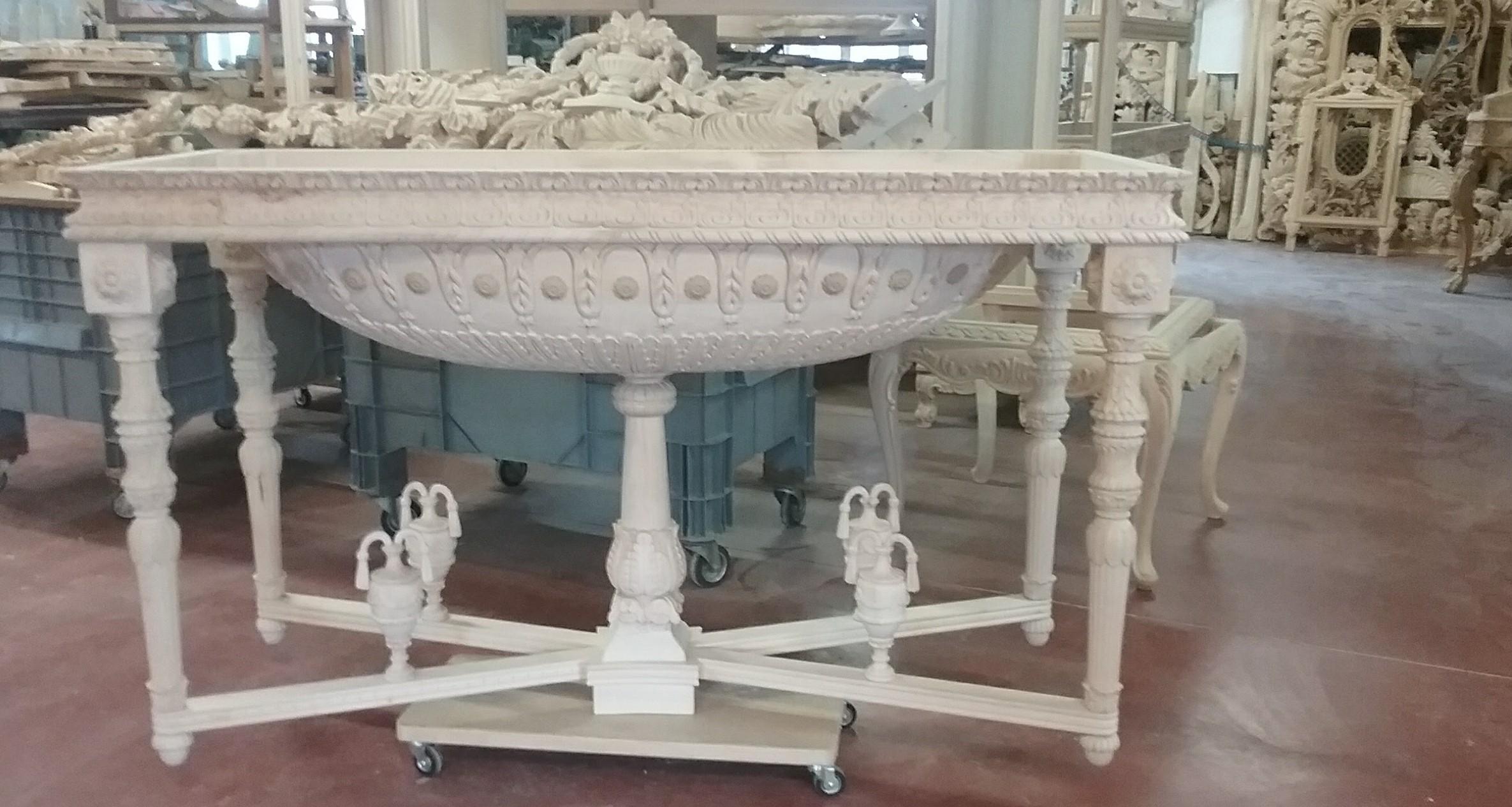 handmade italian luxury furniture empire style round foyer table - Foyer Table