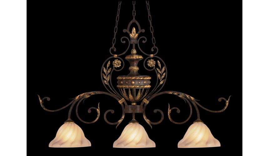 Lighting Island fixture and warm gold leaf finish