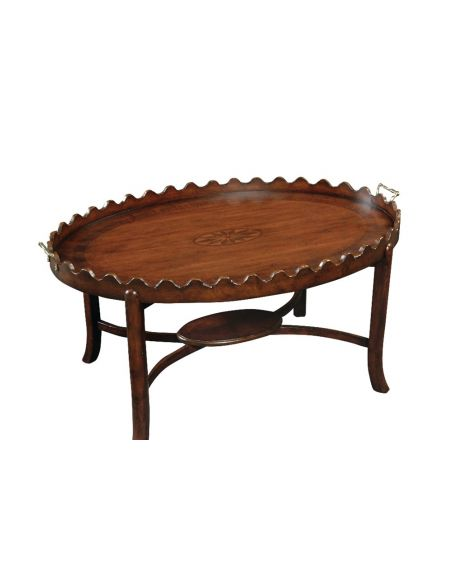 Coffee Tables High End Furniture Cocktail Table, Scalloped Tray