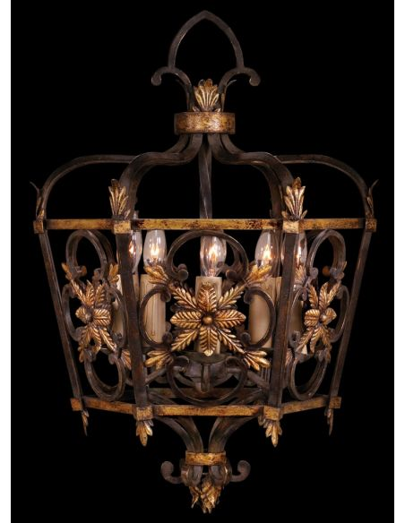 Lighting Medium lantern on antiqued steel