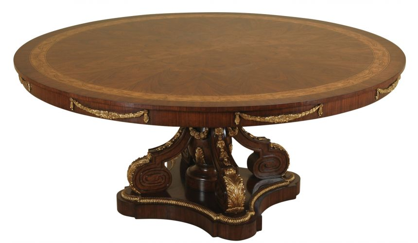 Dining Tables Fontainebleau Finished Dining Table with Gold Gilded Hand Carved Base
