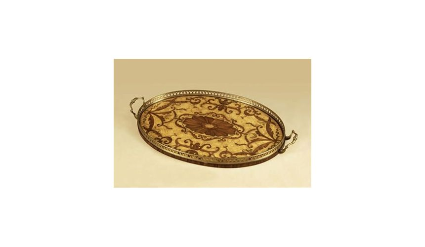 Decorative Accessories High Quality Furniture, White Ash Burl Veneer Inlaid Marquetry Oval Tray