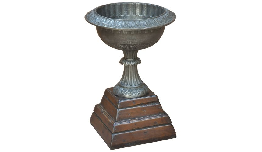 Decorative Accessories Chime Cast Iron Garden Urn Cognac