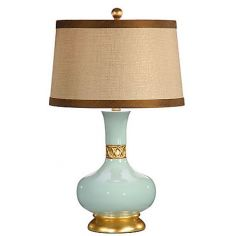 Aqua Gold Leaf Pot Lamp