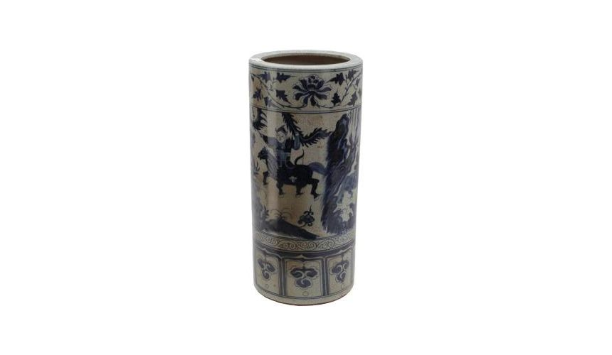 Decorative Accessories Ceramic Umbrella Stand in Blue & White
