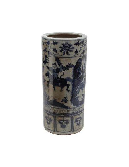Decorative Accessories Ceramic Umbrella Stand in Blue & White