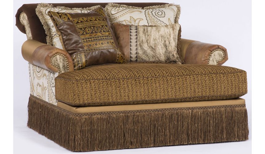 Luxury Leather & Upholstered Furniture Western style chaise or double chair.
