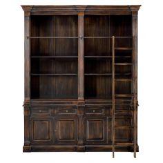 Lancaster Oak Bookcase Old Black Finish.
