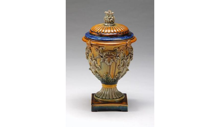 Decorative Accessories High Quality Furniture Hand Colored Covered Urn