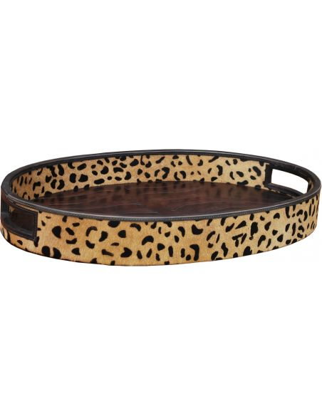 Decorative Accessories Leopard Oval Shaped Tray