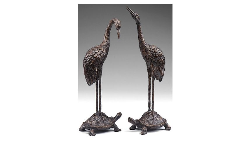 Decorative Accessories Hand Finished Turtle & Crane Showpiece