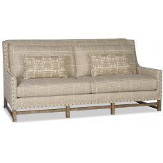 Tan Sofa with Boxed Diamond Patterns