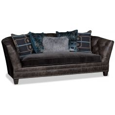 Quality Earth Brown Sofa with Midnight Blue Accent Pillows