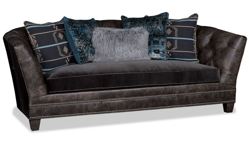 SOFA, COUCH & LOVESEAT Quality Earth Brown Sofa with Midnight Blue Accent Pillows