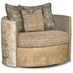Cushioned Neutral Threaded Swivel Chair