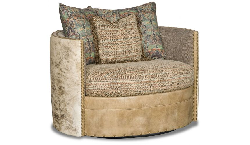 MOTION SEATING - Recliners, Swivels, Rockers Cushioned Neutral Threaded Swivel Chair