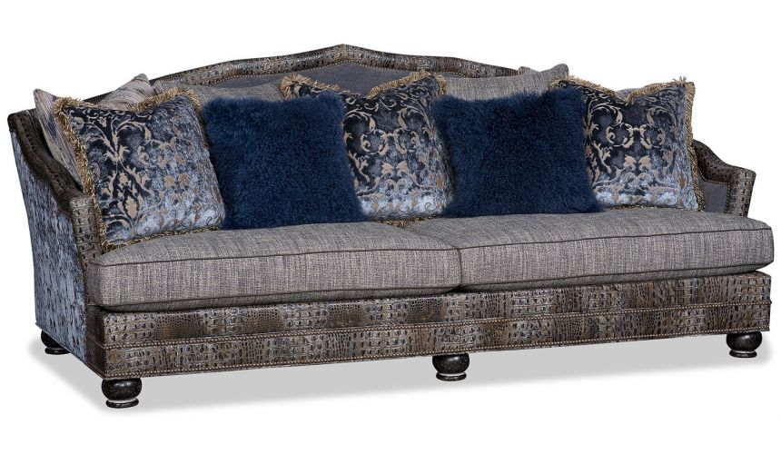 Western Furniture Royal Blue and Midnight Gray Sofa
