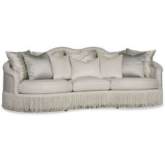 Chic Silver Sofa with Fringe