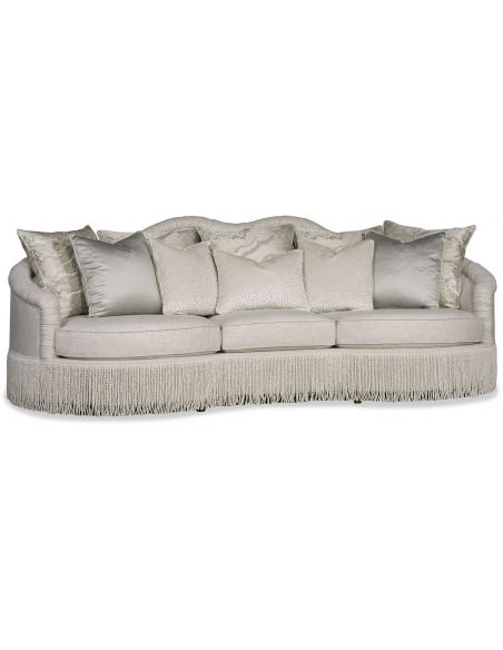 SOFA, COUCH & LOVESEAT Chic Silver Sofa with Fringe