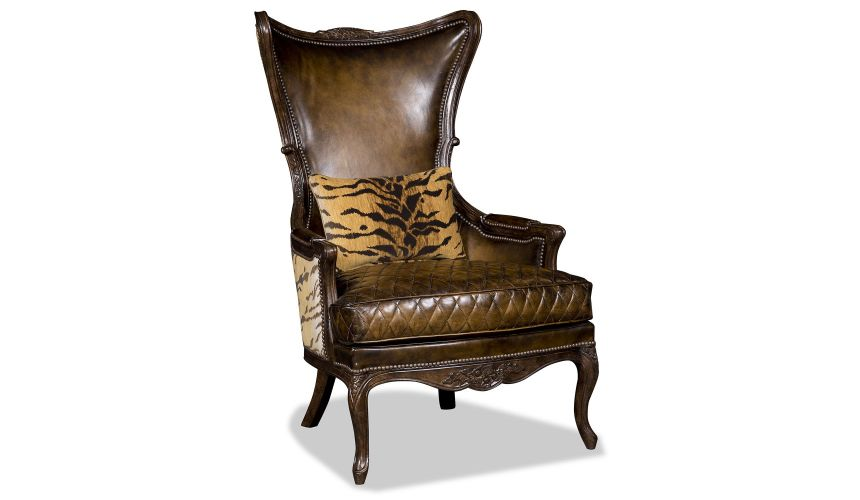 CHAIRS, Leather, Upholstered, Accent Elegant Leather and Tiger Print Arm Chair